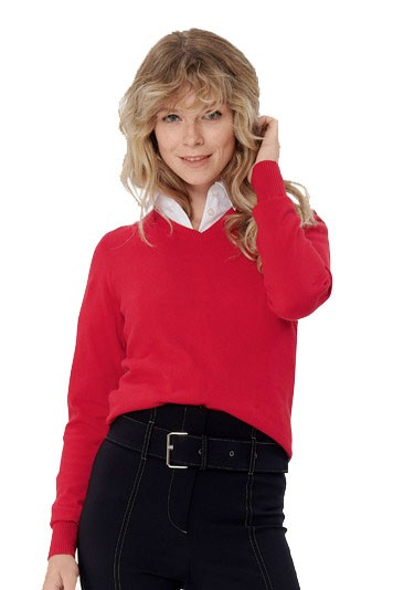 Damen-V-Pullover Premium-Cotton H133